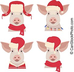 Vector pig head in winter red new year clothing
