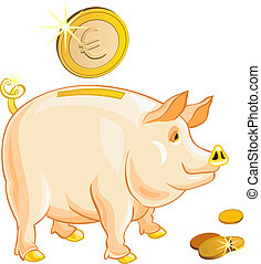 vector pig-piggy bank with gold coins