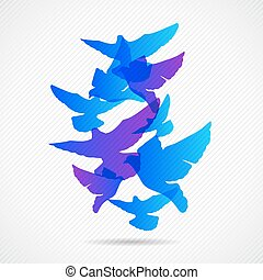 Vector pigeons background design. Collorfull EPS 10 concept.
