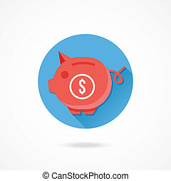 Vector Piggy Bank and Dollar Sign