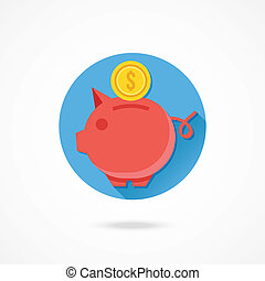 Vector Piggy Bank and Gold Coin