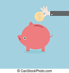 Vector piggy bank concept, flat design, money savings, vector EPS10.