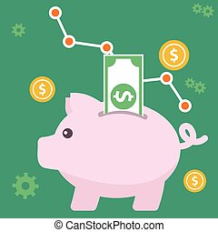 Vector piggy bank concept in flat style - money savings