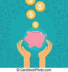 Vector piggy bank concept in flat style - money savings