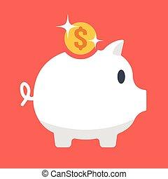 Vector piggy bank, gold coin icon