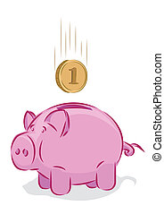 Vector piggy bank  - Vector piggy bank, saving concept