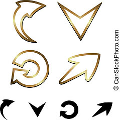 vector, pijl, goud