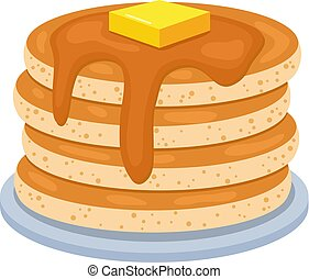 vector pancake stack isolated on white background. pile of pancakes with butter on top. morning breakfast food background with sweet pancakes