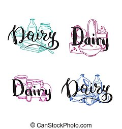 Vector piles of milk products set with dairy letterings