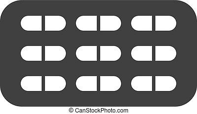 Vector Pill Blister Flat Icon Symbol