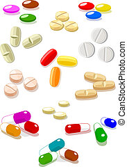 Vector pills on white background