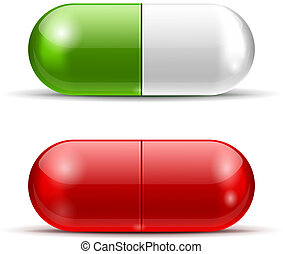 Vector White and Red Pills isolated on white background. EPS10 opacity