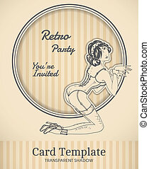 Vector pin-up card - Vector retro pin-up woman illustration...