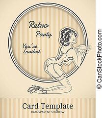 Vector pin-up card - Vector retro pin-up woman illustration...