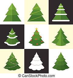 Vector pine icons set