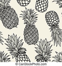 pineapples hand drawn sketch. - Vector pineapples hand drawn...