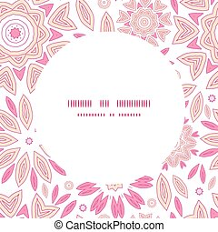 Vector pink abstract flowers frame seamless pattern background