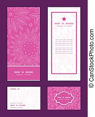 Vector pink abstract flowers texture vertical frame pattern invitation greeting, RSVP and thank you cards set