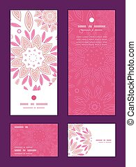 Vector pink abstract flowers vertical frame pattern invitation greeting, RSVP and thank you cards set