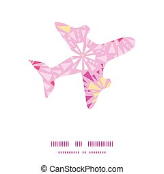Vector pink abstract triangles airplane silhouette pattern frame