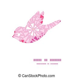 Vector pink abstract triangles bird silhouette pattern frame...