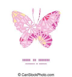 Vector pink abstract triangles butterfly silhouette pattern frame