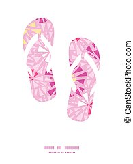 Vector pink abstract triangles flip flops silhouettes pattern frame