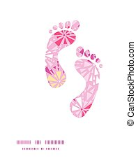 Vector pink abstract triangles footprints silhouettes pattern frame