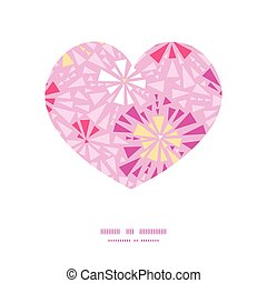 Vector pink abstract triangles heart silhouette pattern frame