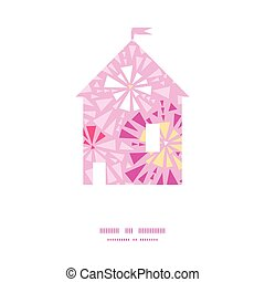 Vector pink abstract triangles house silhouette pattern frame