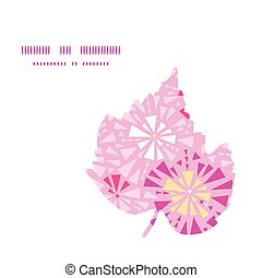 Vector pink abstract triangles leaf silhouette pattern frame