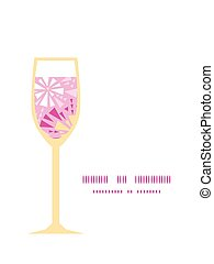 Vector pink abstract triangles wine glass silhouette pattern frame