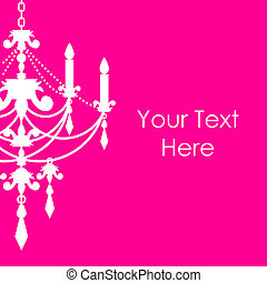 pink background with chandelier