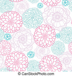 Pink Blue Flowers Lineart Seamless Pattern Background -...