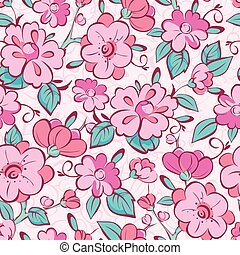Vector pink blue kimono flowers seamless pattern background...