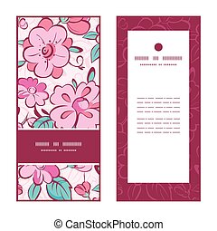 Vector pink blue kimono flowers vertical frame pattern invitation greeting cards set