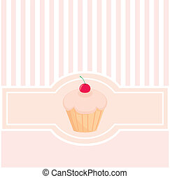 Vector wedding card, baby shower invitation or menu with muffin cupcake and vertical strips. Cute background and lovely cherry on sweet muffin. Sweet, retro, pink and white background.