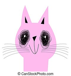 Vector pink cat on a white background
