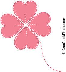 vector pink clover four leaf
