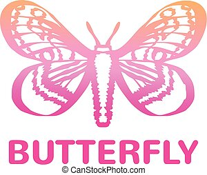 Vector pink color butterfly icon
