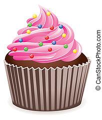 pink cupcake - vector pink cupcake