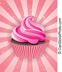 vector pink cupcake on retro background