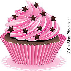 pink cupcake - vector pink cupcake with chocolate sprinkles