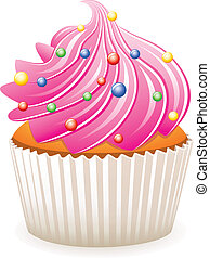 pink cupcake - vector pink cupcake with colorful sprinkles