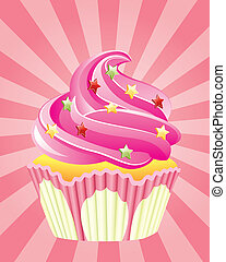 pink cupcake with sprinkles