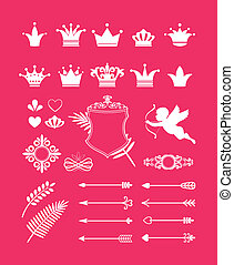 pink decor with crowns