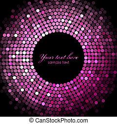 pink disco lights on black backgrou - Vector pink disco...