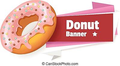 Vector pink donut banner illustration