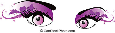 vector pink eyes - eyes to be used as cosmetics, fashion and...