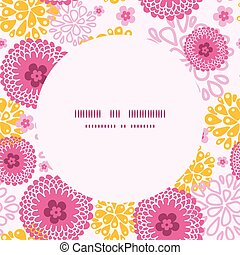 Vector pink field flowers frame seamless pattern background...
